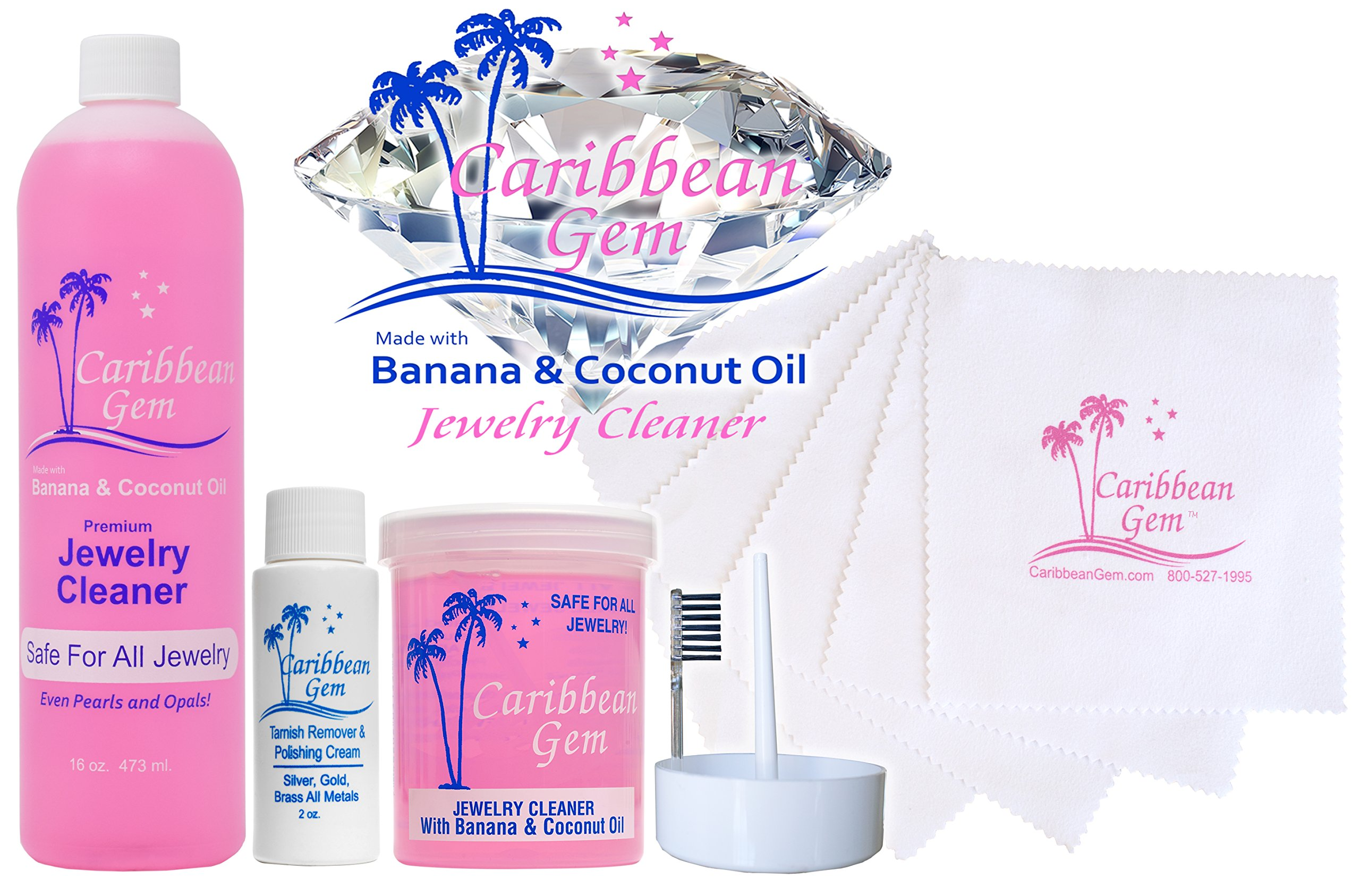 Caribbean Gem Ultra Jewelry Cleaning Kit with Cleaner, Polishing Cream, Cleaning Cloths