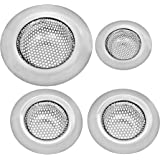 Stainless Steel Sink Strainer Set – 4 Pieces , Ideal For Most Kitchen Sinks, Bathroom Sinks, Shower Drains