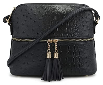fc4cf69483b Image Unavailable. Image not available for. Color  SG SUGU Crocodile  Pattern Lightweight Medium Dome Crossbody Bag with Tassel   Black
