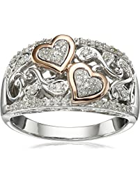 Sterling Silver and 14k Pink Gold Diamond Hearts Ring (1/4 cttw, I-J Color, I3 Clarity), Size 8