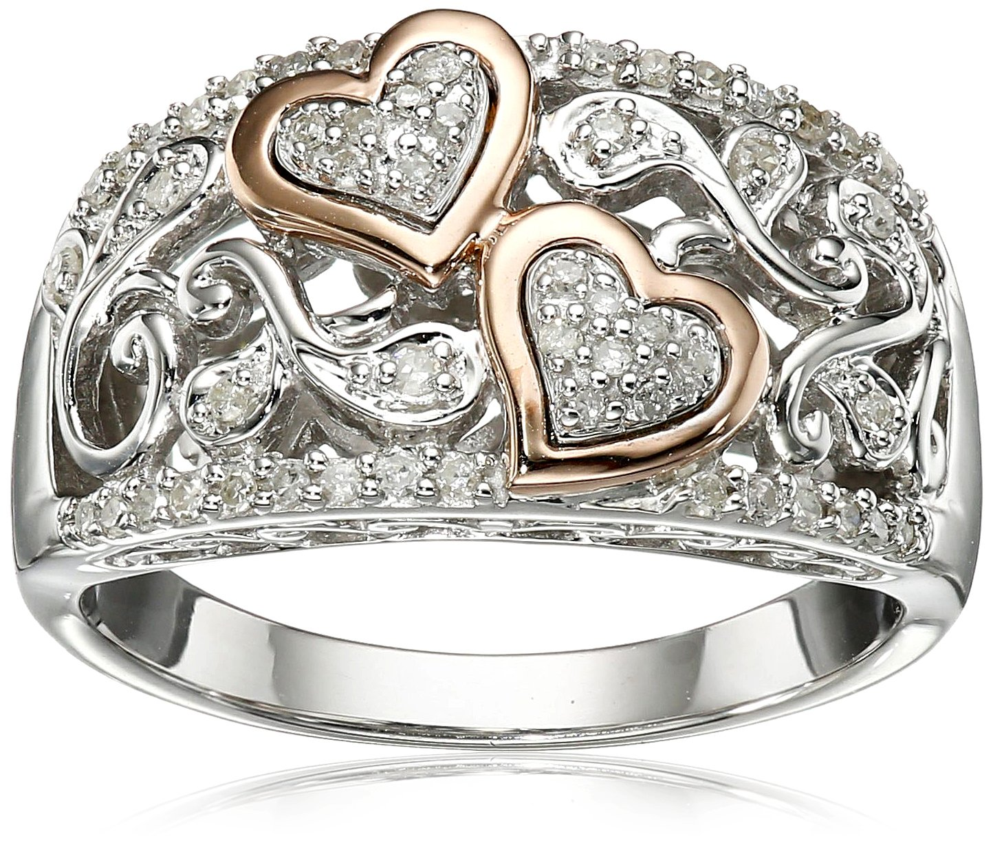 Sterling Silver and 14k Pink Gold Diamond Hearts Ring (1/4 cttw, I-J Color, I2-I3 Clarity), Size 7