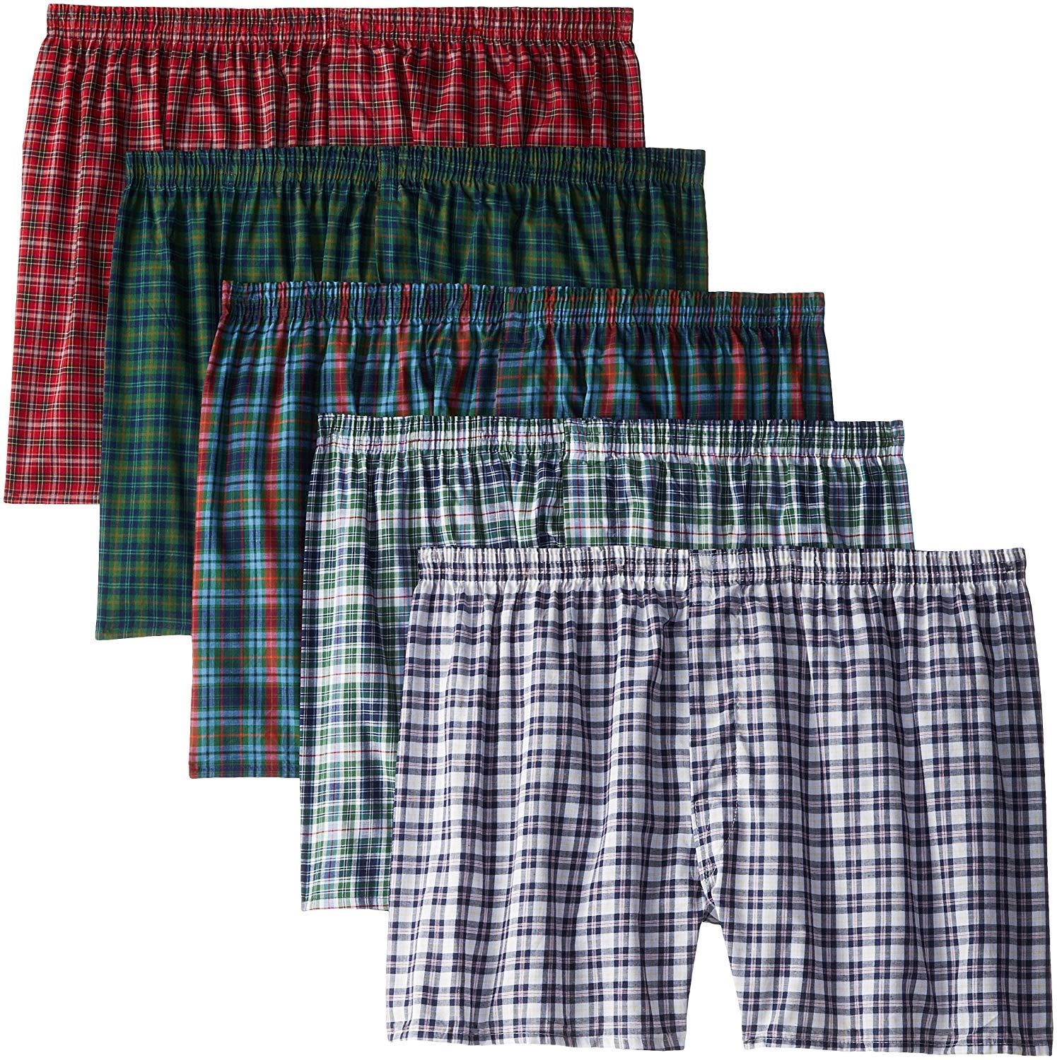 Fruit of The Loom Men's Woven Tartan and Plaid Boxer Multipack (3XB (50-52), Assorted Tartan - 5 Pack) by Fruit of the Loom (Image #1)