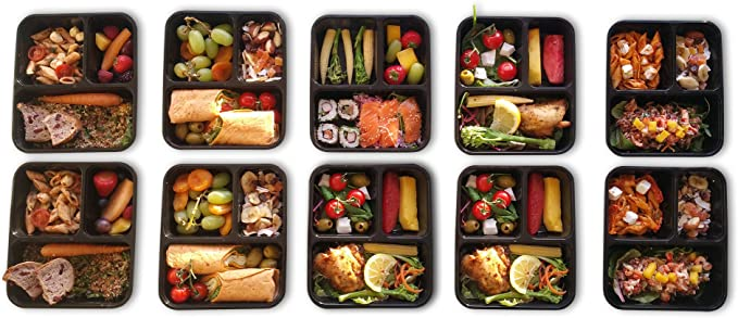 10 pack| 3 Compartimento comida Prep Contenedor. Bento Box Set con ...