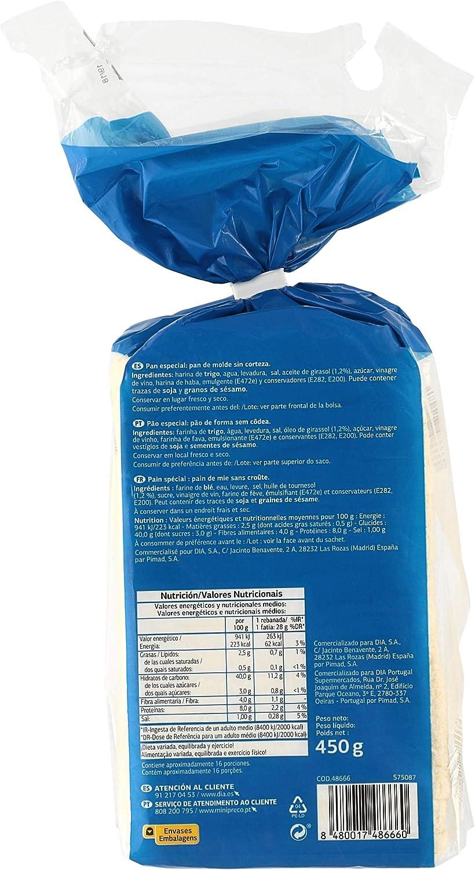 EL MOLINO DE DIA pan de molde blanco sin corteza bolsa 450 gr: Amazon.es: Alimentación y bebidas