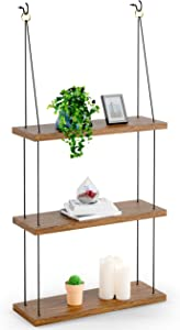 3 Tier Wall Hanging Shelf - Wood Hanging Shelves for Wall - Rustic Floating Wood Shelves for Bedroom Living Room Bathroom Kitchen - Hanging Plant Shelf - Rope Triangle Window Farmhouse Tall Shelf