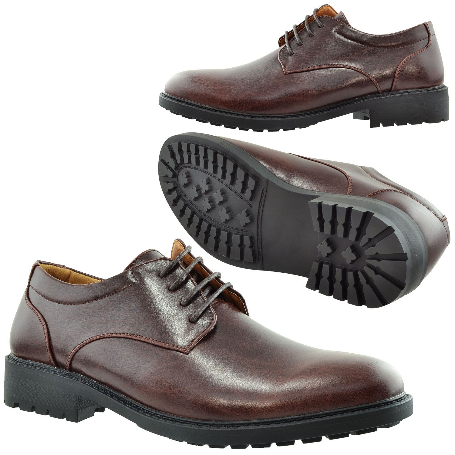 Mens Dress Shoes Lace Up Padded Oxford Almond Toe Chunky Heel
