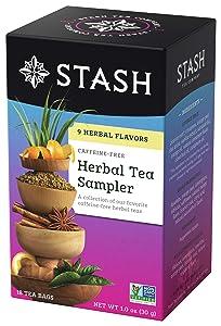 Stash Tea Herbal Tea Sampler, Nine Flavor Variety Pack, 18 Count Tea Bags in Foil (Pack of 6)
