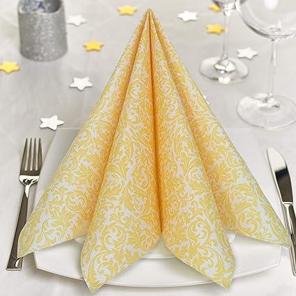 GRUBly Servilletas AMARILLO de papel gofrado fino ornamental | Servilletas papel de fiesta como servilletas de tela | Ideal Cenas Bodas Cumpleaños ...