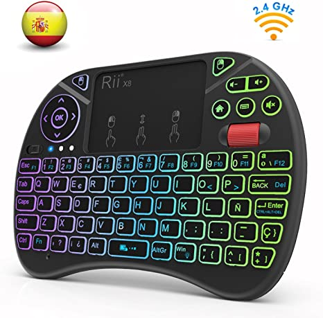 Rii X8 (Nueva versión 2018) - Mini teclado inalámbrico retroiluminado con pantalla táctil 2.4GHz y Rueda de Scroll, dispone de 8 cambios de color: Amazon.es: Electrónica