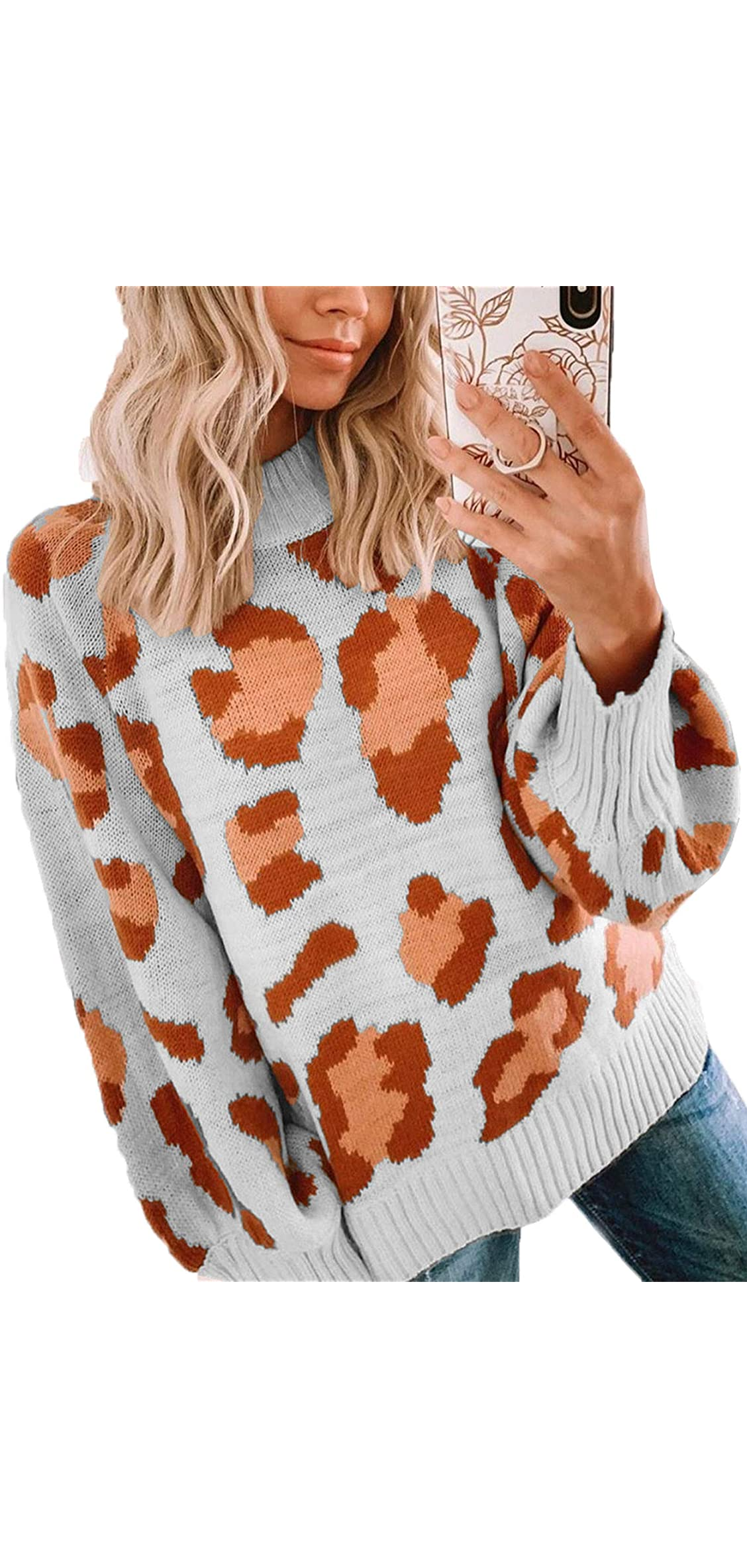 Women's Sweaters Casual Oversized Leopard Printed Crew