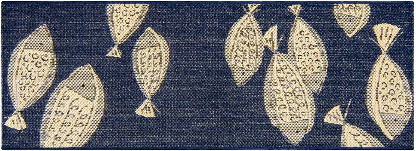 Gertmenian 21999 Outdoor Rug Freedom Collection Coastal Themed Smart Care Deck Patio Carpet, 2x6 Runner, Exotic Fish Navy Blue
