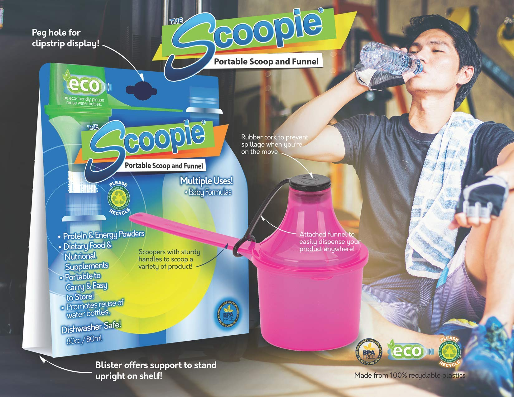 The Scoopie Easy Pour, On The Go Formula Container, 3 Count, 8 Ounces, Blue, Travel Ready Scoop with Funnel System for Dispensing Supplement Powders into Baby Bottles and Water Bottles by The Scoopie