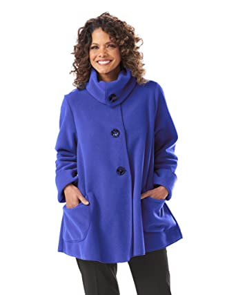 03fce648375 Janska Tie Button Jacket - Women s Warm Fleece A-Line Swing Coat with  Pockets