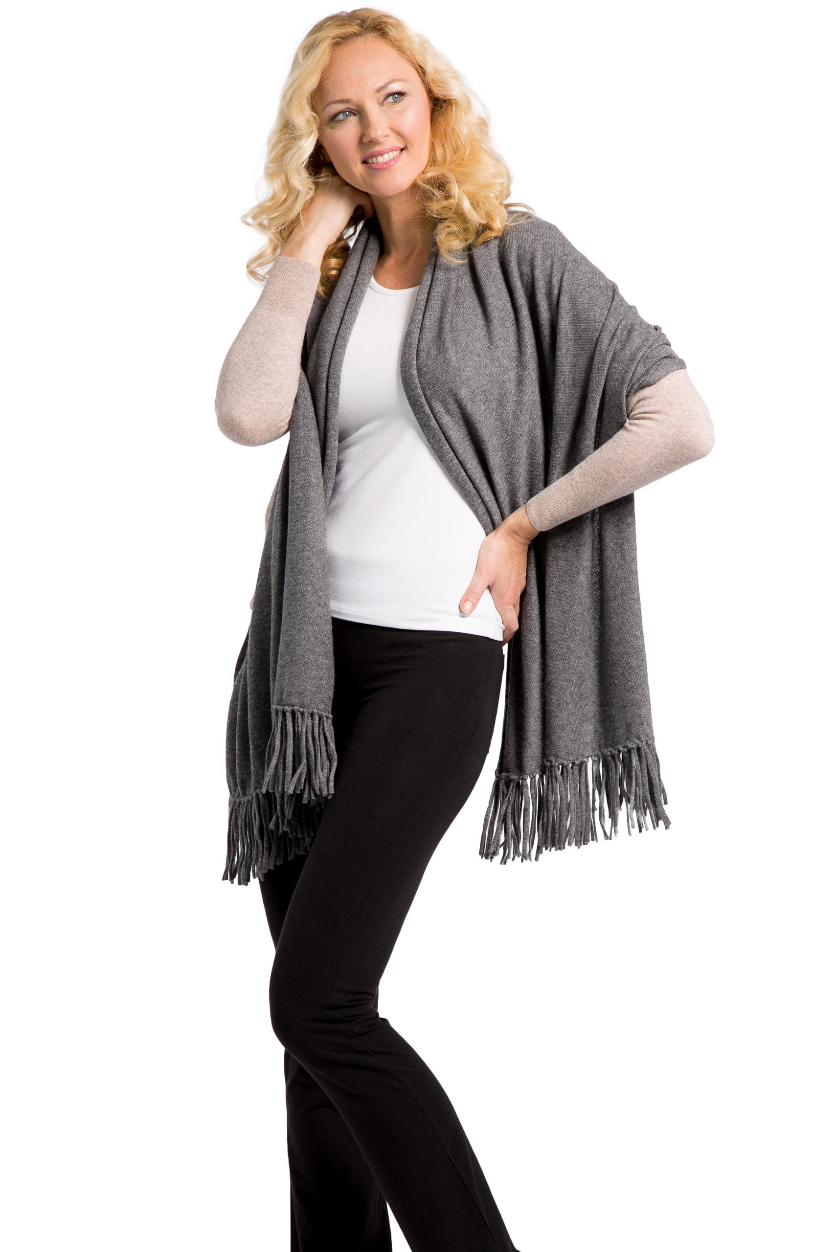 Fishers Finery Women's 100% Cashmere Knit Scarf with Fringe (Iron Gate)