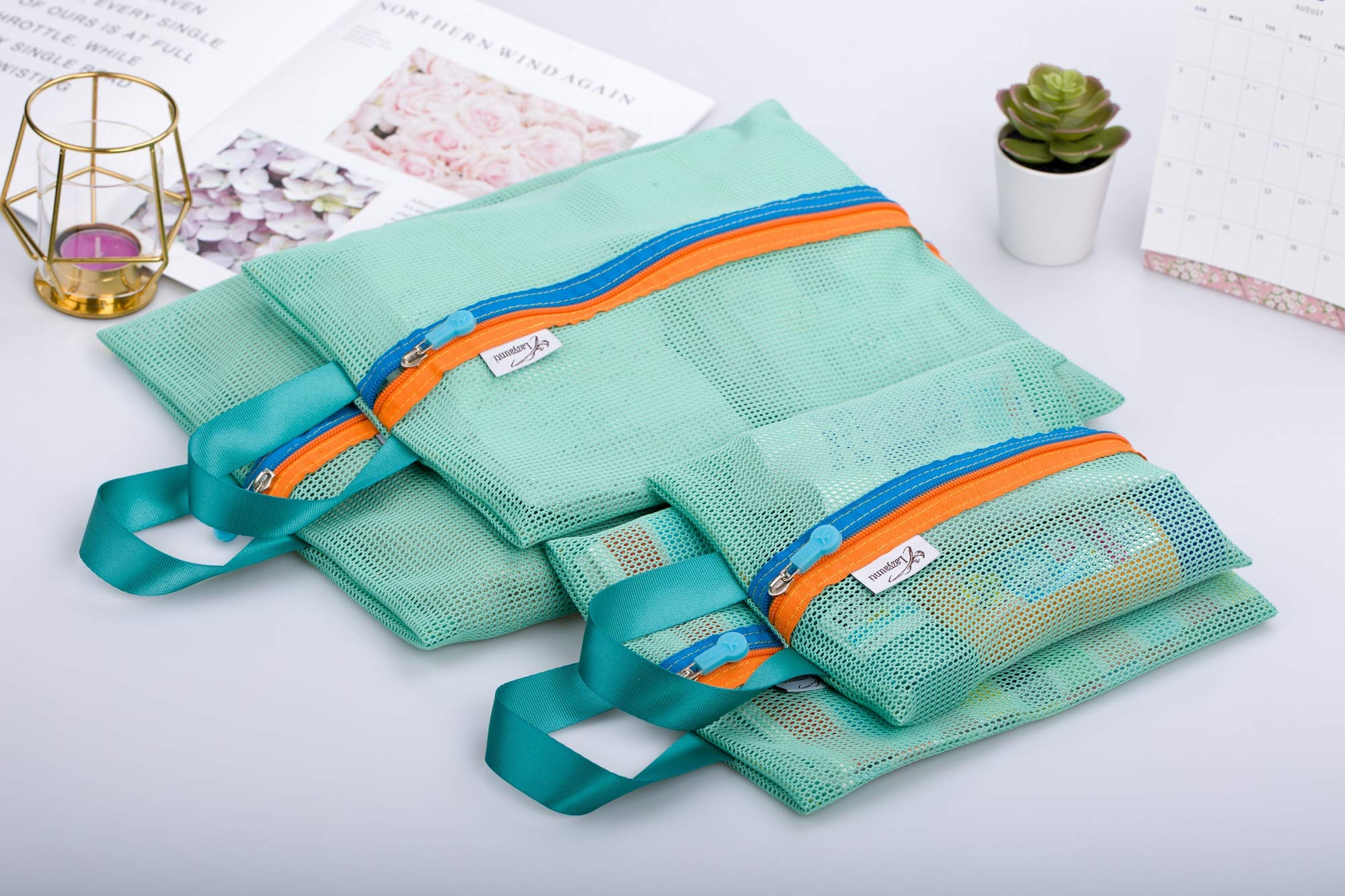Lazyaunti Mesh Storage Bags Travel Organizer for Cosmetic Makeup Office Supplies Mesh Zipper Pouch Pencil Bag Set of 4 Assorted Sizes (Mint)