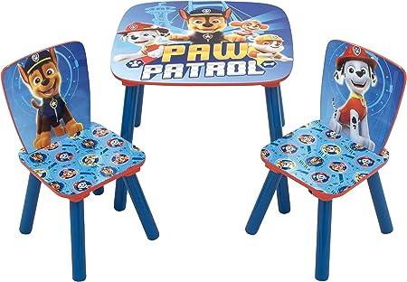 ARDITEX PW12897 Set de Mesa (50x50x44cm) y 2 Sillas (26.5x26.5x50cm) de Madera de Nickelodeon-Patrulla Canina: Amazon.es: Juguetes y juegos