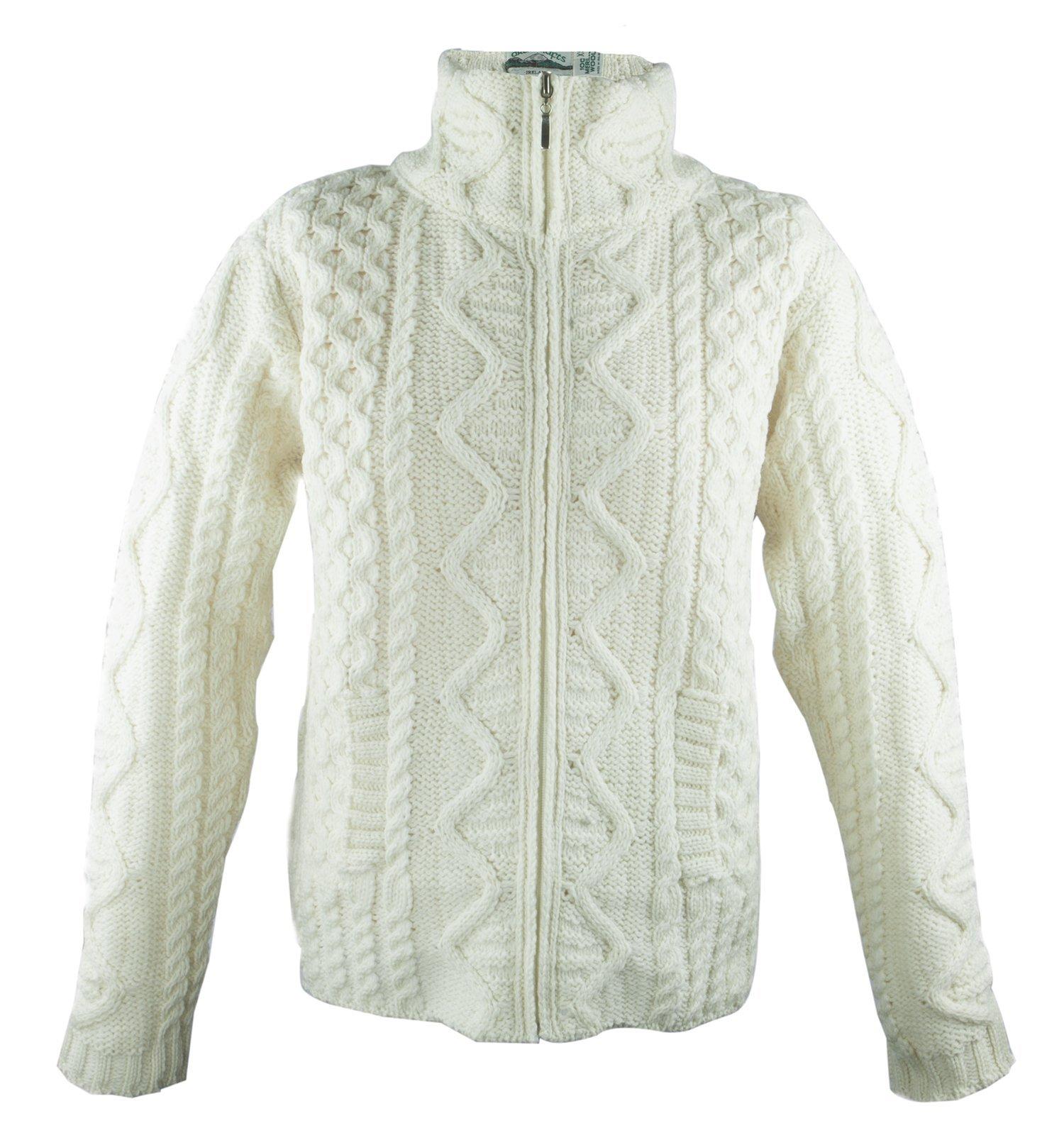 100% Irish Merino Wool Aran Knit Zip Sweater with pockets by West End Knitwear, Ecru, Small