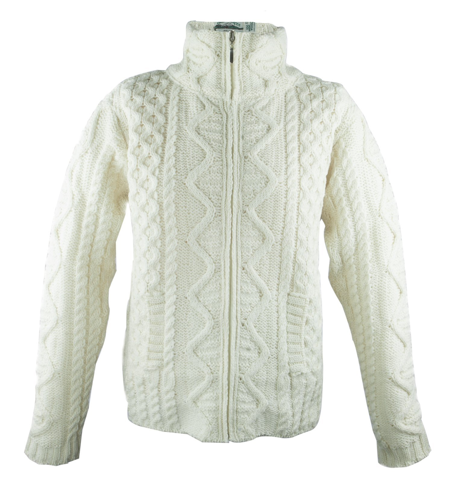 100% Irish Merino Wool Aran Knit Zip Sweater with pockets by West End Knitwear, Ecru, Medium