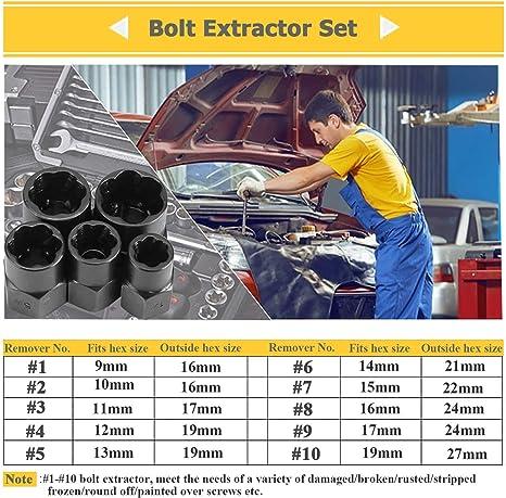 Kit de Extracci/ón de Pernos Rotos M/étricos SNOWINSPRING 10 Piezas de Tuerca Da?ada Removedor de Pernos Extractor de Pernos Set # 1- # 10