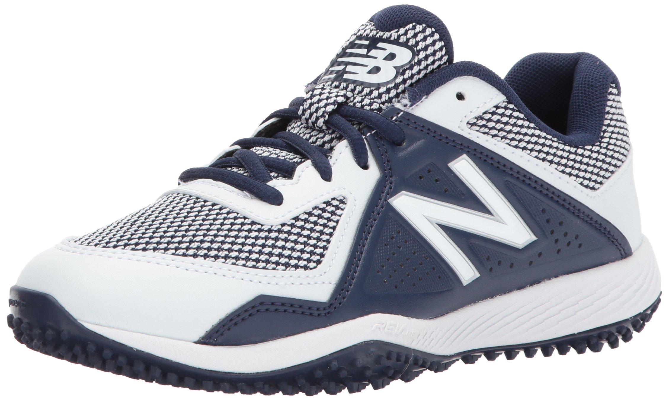 New Balance Boys' TY4040 Turf Baseball Shoe, Navy/White, 5 M US Big Kid