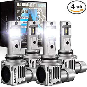 NOVSIGHT 9005 9006 led headlights combo, Quickly Install High and Low Beam Bulbs 22000 Lumens 60W Headlights Conversion Kits, 6500K Cool White IP68 Waterproof, Pack of 4