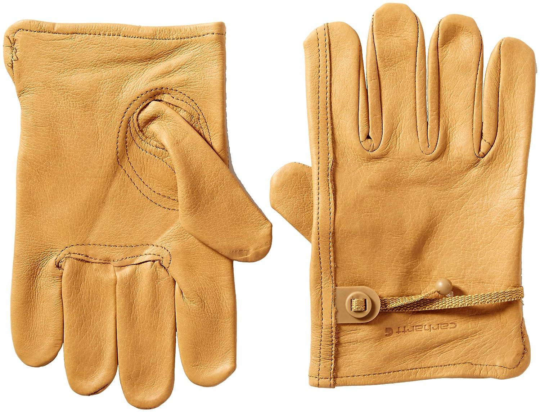 Carhartt Men's Full Grain Leather Driver Work Glove, Brown, Small A514