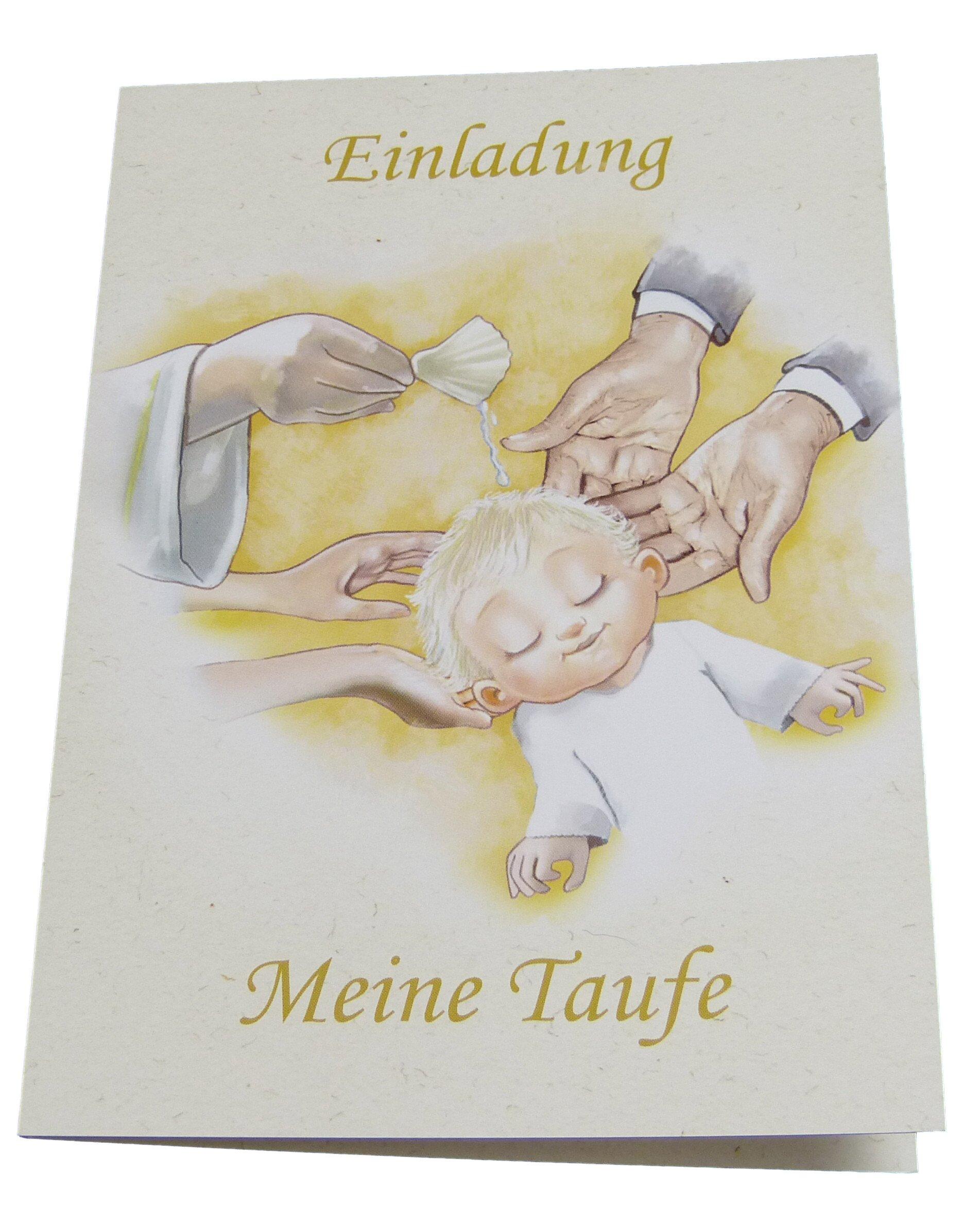 Einladungskarten Zur Taufe Für Junge U0026 Mädchen Im Set   Je 12x Klappkarte  Einladung Meine Taufe