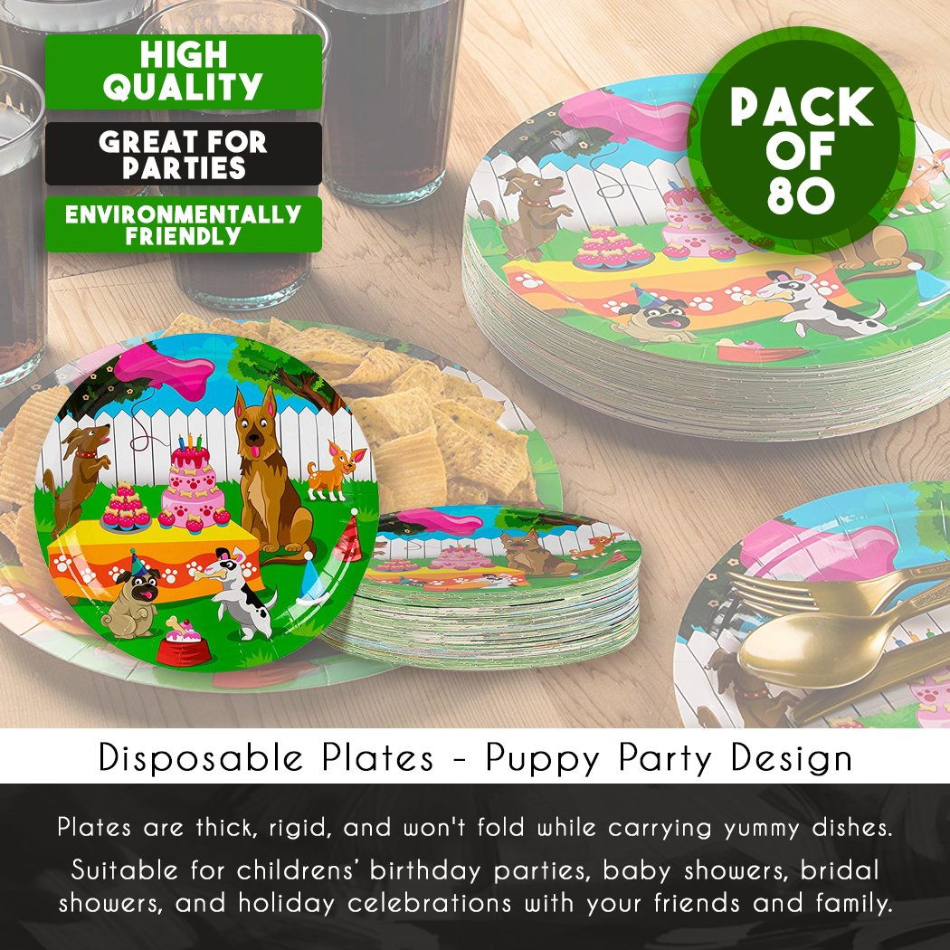 Disposable Plates - 80-Count Paper Plates, Puppy Party Supplies for Appetizer, Lunch, Dinner, and Dessert, Kids Birthdays, 9 x 9 inches by Blue Panda (Image #4)