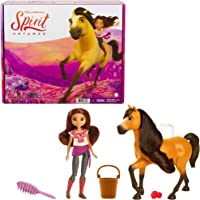 Mattel Spirit Untamed Lucky Doll (Approx. 7-in) & Spirit Horse (Approx. 8-in), with Long Mane, Trough, Hay, Brush, Apple…