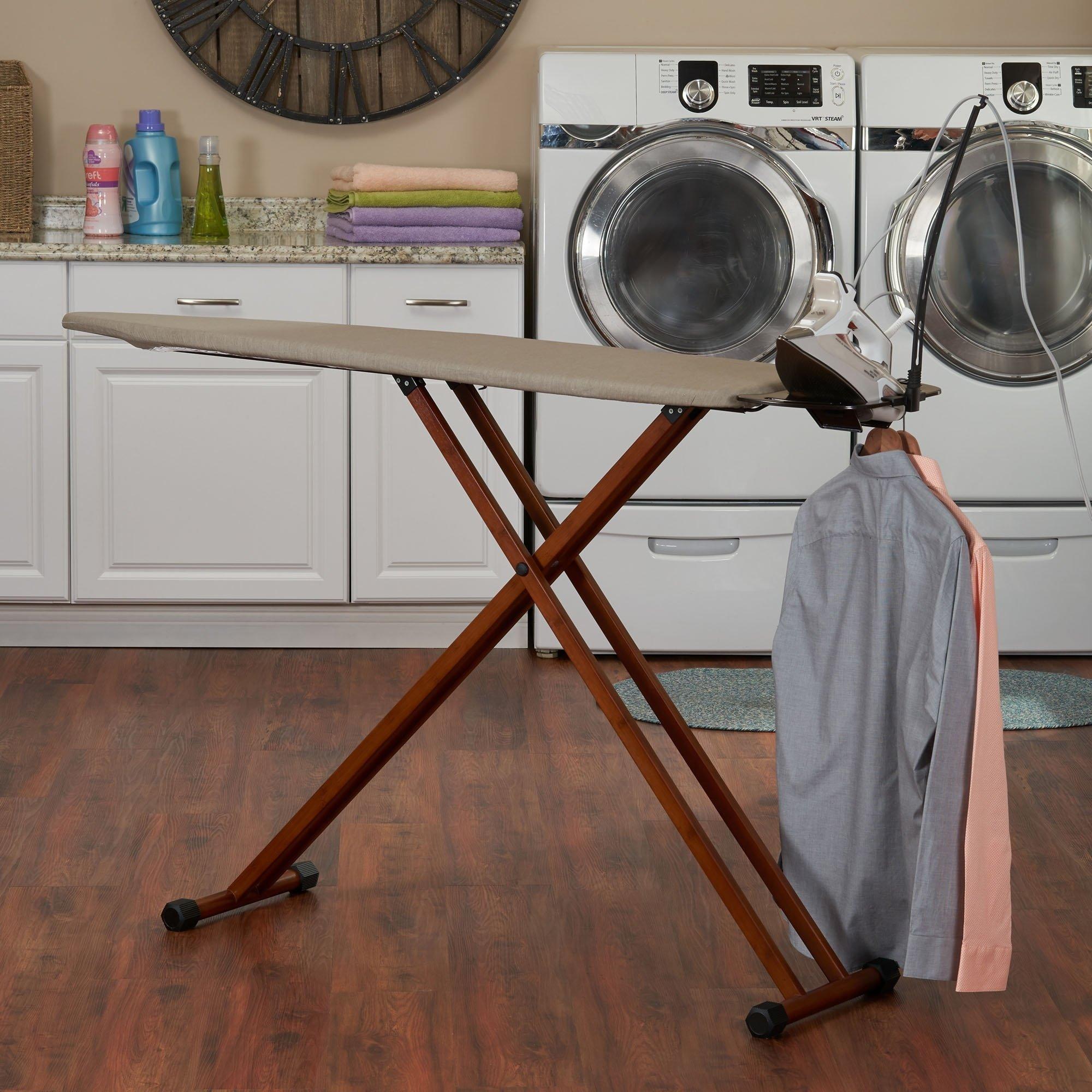 MattsGlobal Bamboo Leg Ironing Board with Iron Rest Cotton Wood Free Standing Iron Holder Dark Frame by MattsGlobal (Image #4)