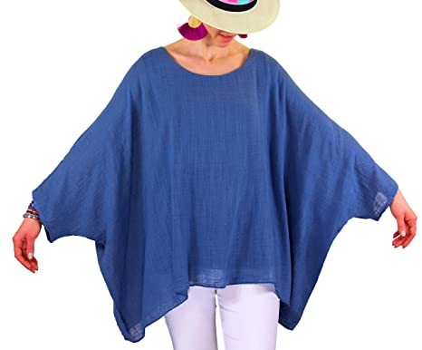 14012896586e84 Charleselie94® - Tunique Poncho été bohème Grande Taille Bleu Jean POEME  Bleu