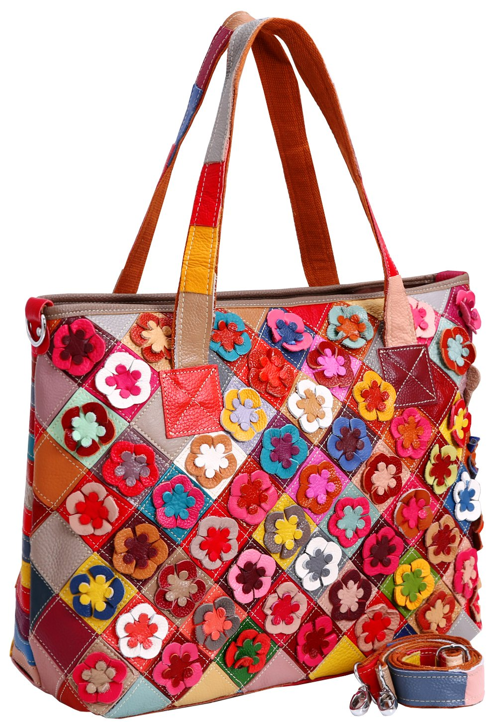 Heshe® Women's Hobo Shoulder Bags Cross Body Tote Handbags Purses with Flower Summer Style (Colorful-2B4039)