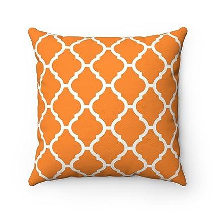 Moroccanity Funda para cojín Decorativo, diseño geométrico, Estilo marroquí, 43 x 43 cm, Naranja