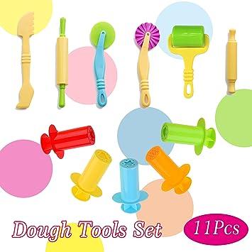 Plastilina herramientas kit 11 piezas surtido pasta herramienta de corte incluyendo amplia Rolling Pin: Amazon.es: Juguetes y juegos