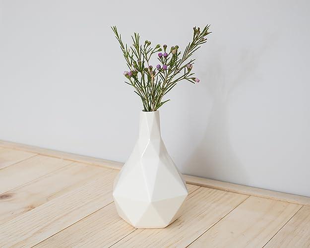 Amazon Geometric Ceramic Bud Vase In White Handmade