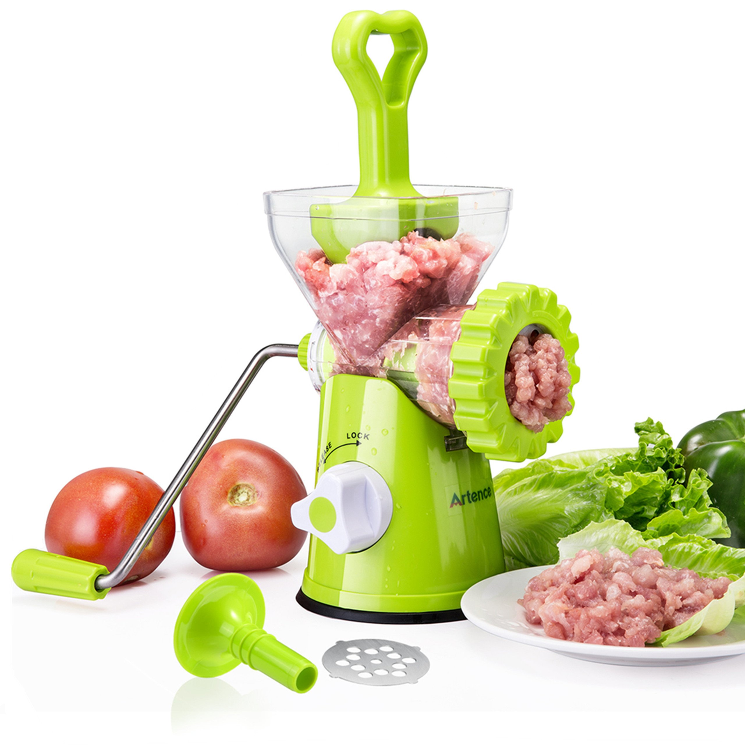 Artence Meat Grinder,Stainless Steel Plate,Powerful Suction Base,Fast and Effortless for All Meats,Fats,Nuts,Cookies,Cooked Food,perfect for making burgers and Sausage