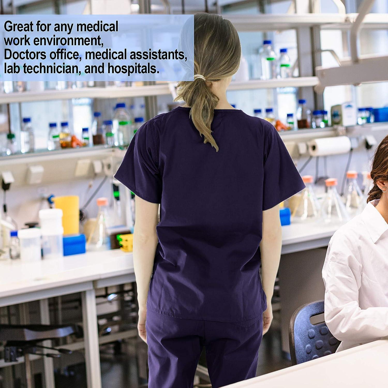 PERLLI Scrubs for Women 5 Pockets Medical Scrub Set with V-Neck Scrub Top /& Comfortable Cargo Pants