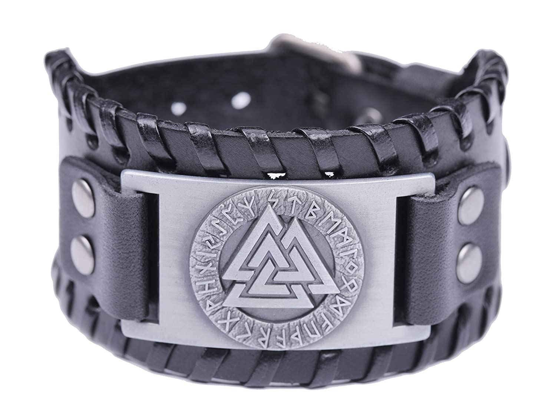 fishhook Attaches de type Norse Viking Valknut Symbole 24runes Amulette Talisman Bracelet cuir bracelet fishhook Alliage N/A GeXiang