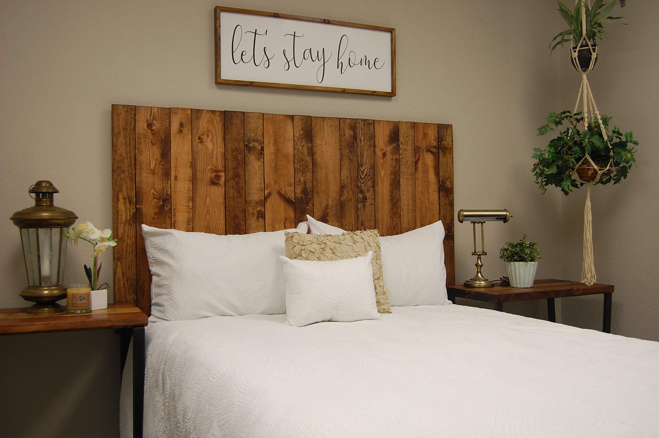 Honey Headboard King Size Stain, Hanger Style, Handcrafted. Mounts on Wall. Easy Installation by Barn Walls