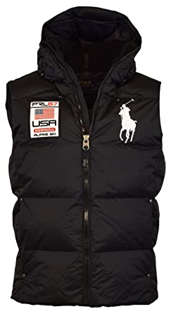 Polo Ralph Lauren Men's Big Pony Alpine Ski Patch Puffer Vest, Polo Black,  Medium