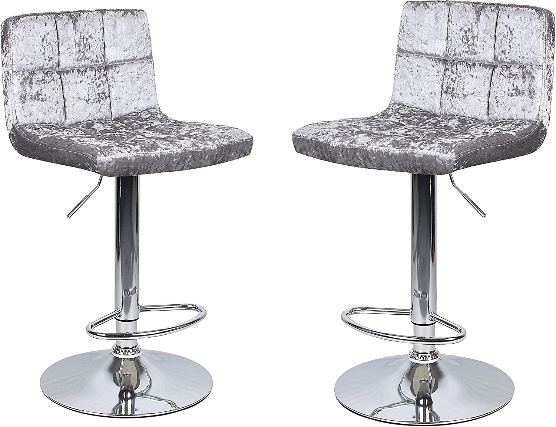 HISPUK 9 x Crushed Velvet Silver Breakfast Bar Stool Kitchen Barstools  Dining Office Chair