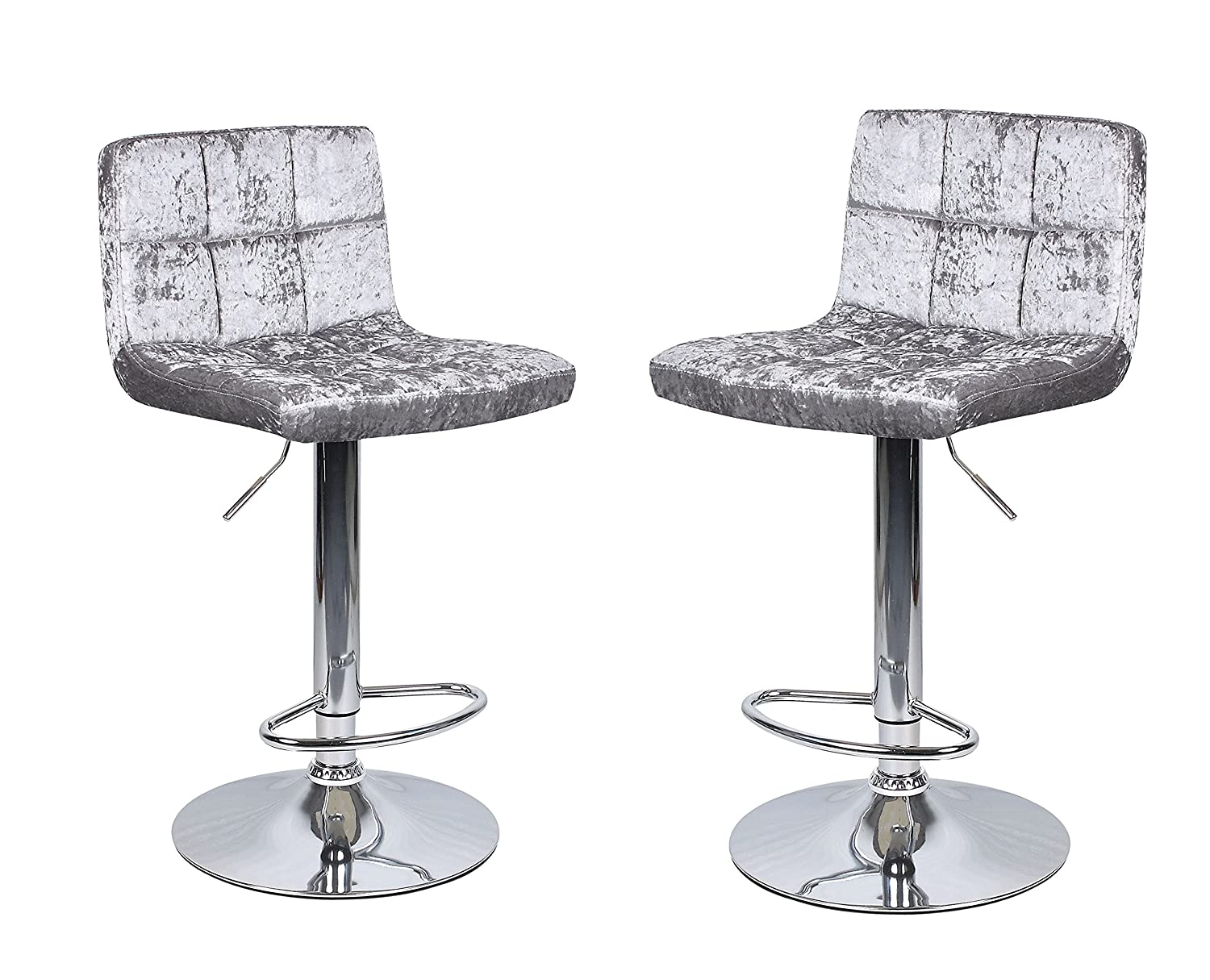 2 x Crushed Velvet Silver Breakfast Bar Stool Kitchen Barstools Dining Office Chair HispUK