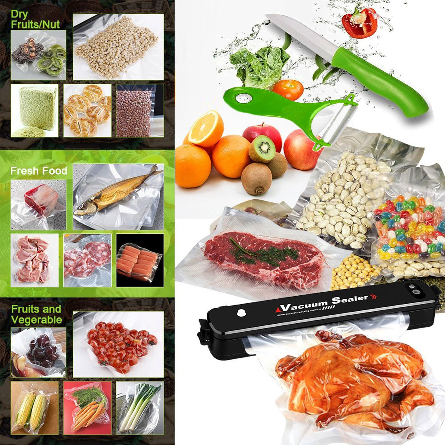 Vacuum Sealer Machine , Portable Compact Vacuum Sealing System for Vacuum and Seal /Seal , Dry / Wet Household Food Fresh Sealing Packing Machine with 15pcs Vacuum Bags, Black