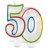 (アムスキャン) Amscan ナンバー キャンドル 数字 ロウソク 誕生日 バースデーケーキ (50) (ホワイト/グリッター)