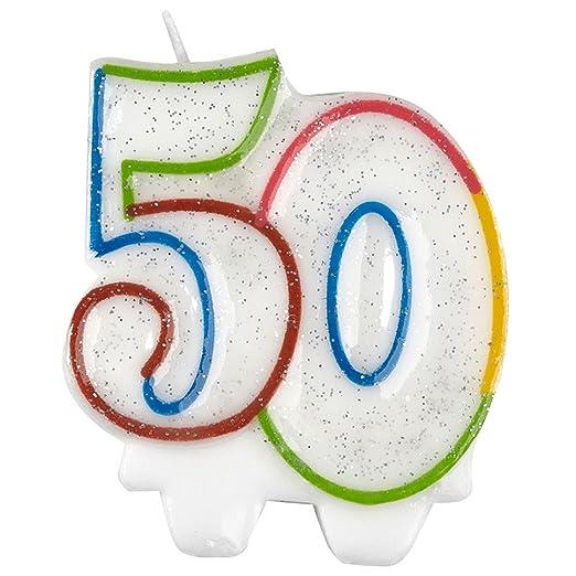 Amscan 9900812 - Vela para 50 cumpleaños, 7,5 cm: Amazon.es ...
