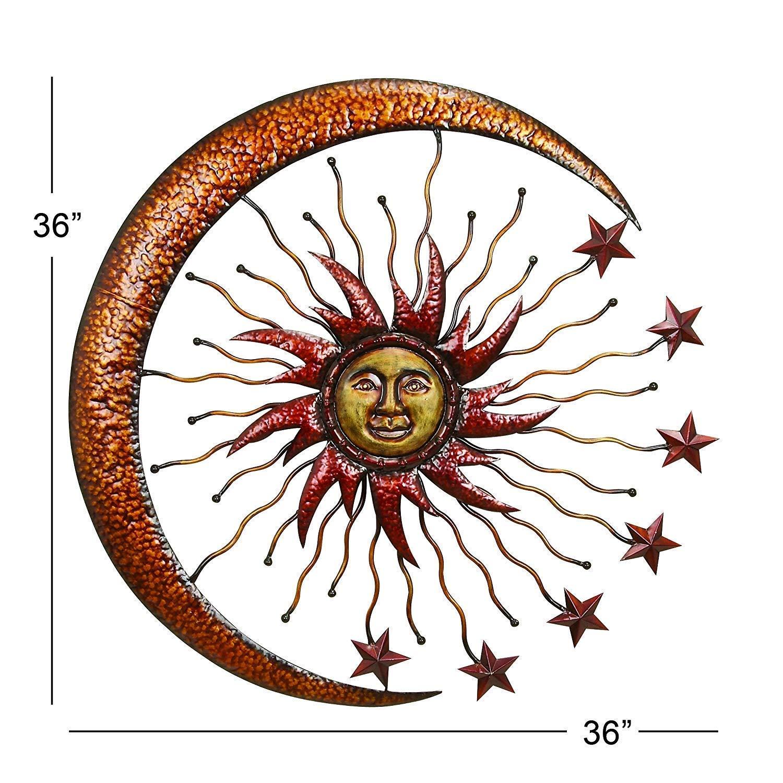 Bellaa 20025 World Best Sun Moon Stars Metal Wall Hanging Garden Art 36'' by Bellaa (Image #2)