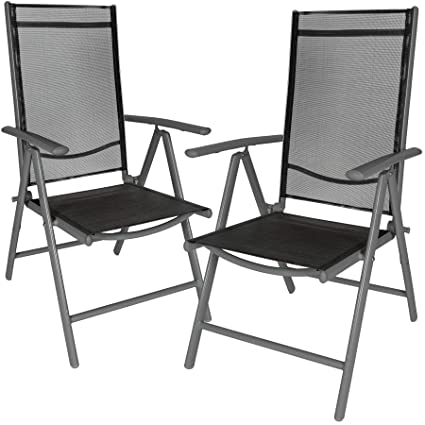 Remarkable Tectake Aluminium Folding Garden Chairs Set Adjustable With Armrests Different Colours And Quantities Anthracite 2 Chairs No 401633 Ncnpc Chair Design For Home Ncnpcorg