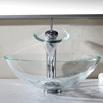 Bathroom Tempered Glass Vessel Vanity Sink bowl W// Waterfall faucet Combo Set