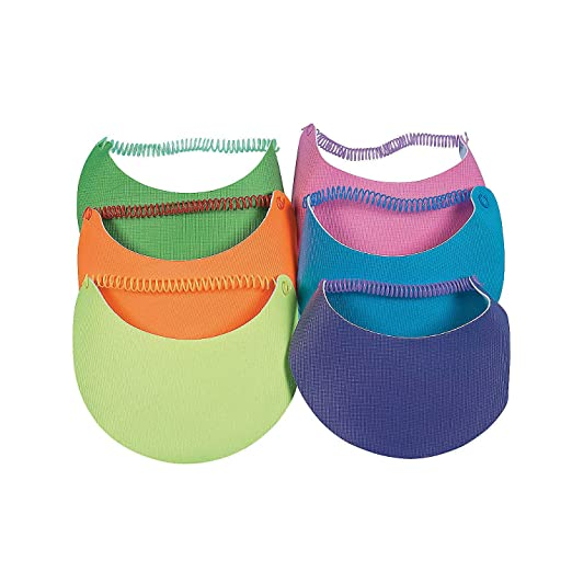 Amazon.com  Fun Express - Child Neon Visors W Coil Bands - Apparel  Accessories - Hats - Visors - 12 Pieces  Clothing 470cb37262a