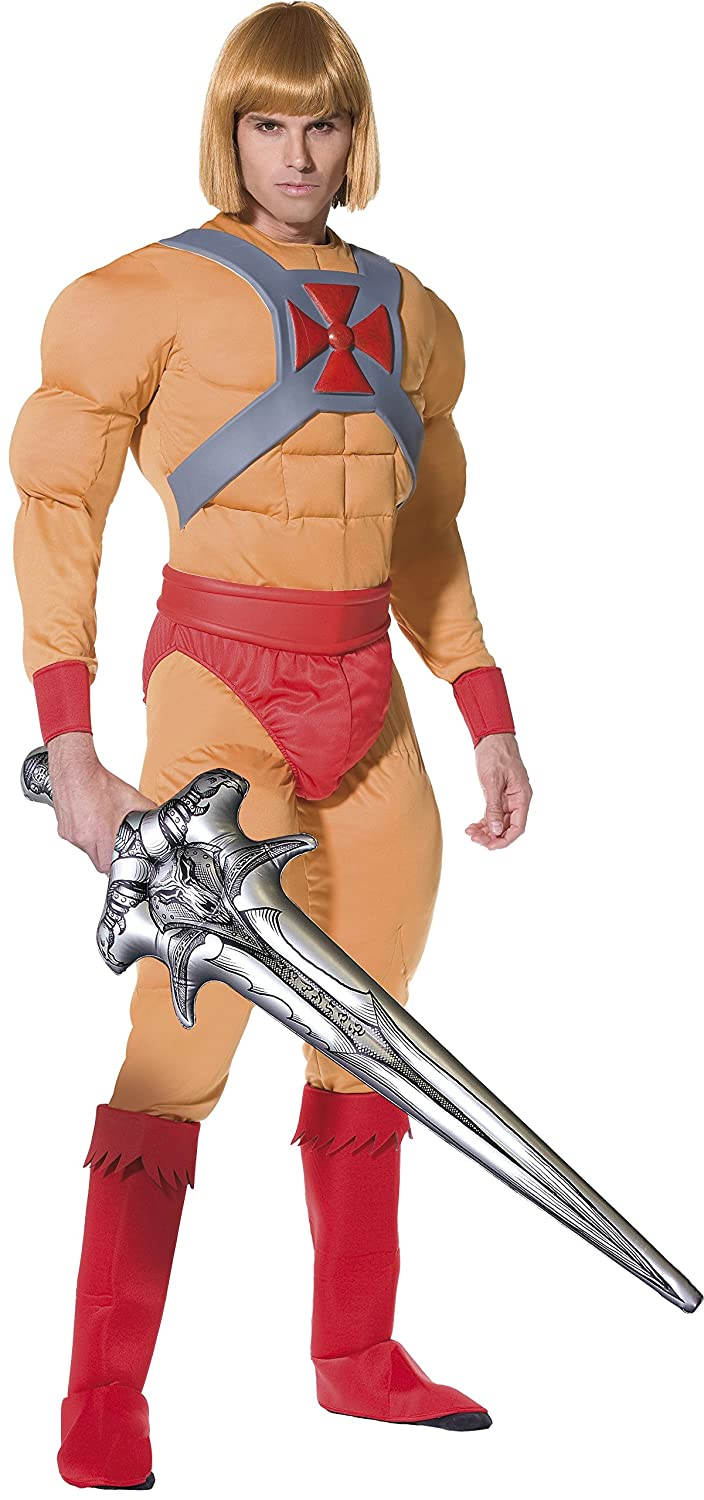 He Man/Prince Adam Fancy Dress  Muscle Costume and Sword. Remember the eighties cartoon Masters of the Universe? Now you can become He-Man and shout out